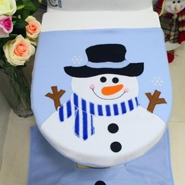 Ericdress Christmas Blue Snowman Toilet Cover