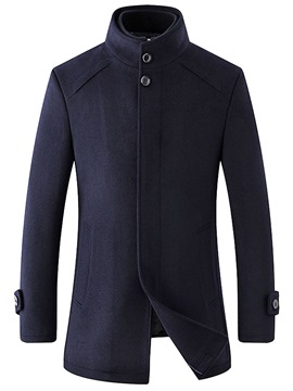 Ericdress Plain Stand Collar Slim Mid-Length Mens Casual Wool Coat