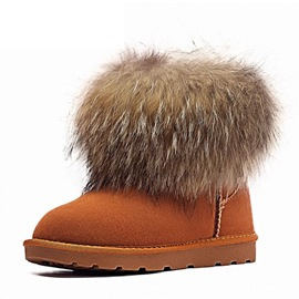 Ericdress Slip-On Faux Fur Round Toe Women's Snow Boots
