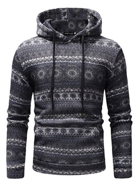 Ericdress Striped Print Geometric Christmas Pullover Mens Casual Hoodies
