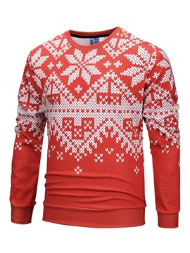 Ericdress Pullover Patchwork Slim Christmas Mens Casual Sweatshirts