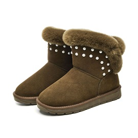 Ericdress Plain Purfle Faux Fur Slip-On Women's Snow Boots
