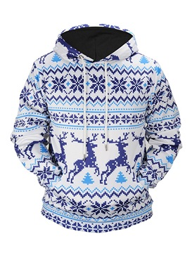 Ericdress Striped Ethnic Print Pullover Mens Christmas Hoodies