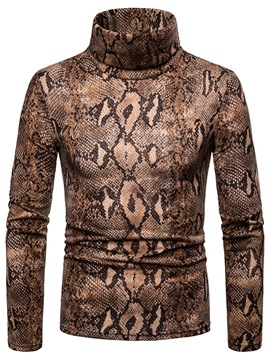 Ericdress Turtleneck Slim Print Mens Casual Sweaters