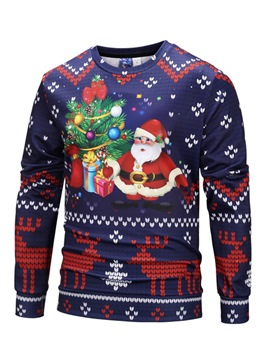 Ericdress Pullover Slim Christmas Print Single Mens Sweatshirts
