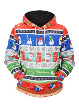 Ericdress Loose Pullover Christmas Printed Mens Casual Hoodies