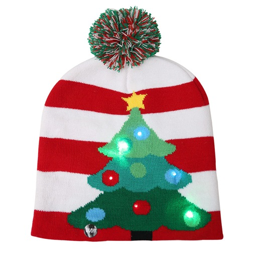 Ericdress Christmas Ornament Knitted LED Hat Christmas Tree
