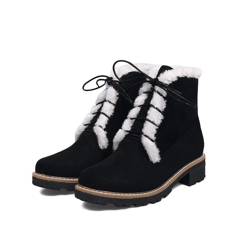 Ericdress Round Toe Plain Lace-Up Front Women's Snow Boots
