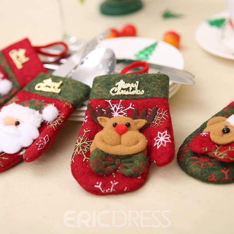 Ericdress Christmas Decoration Dining Table Decoration Tableware Set Knife& Fork Set Gift Bag