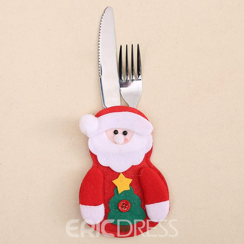 Ericdress Christmas Table Decoration Cutlery Santa Claus Knife&Fork Set