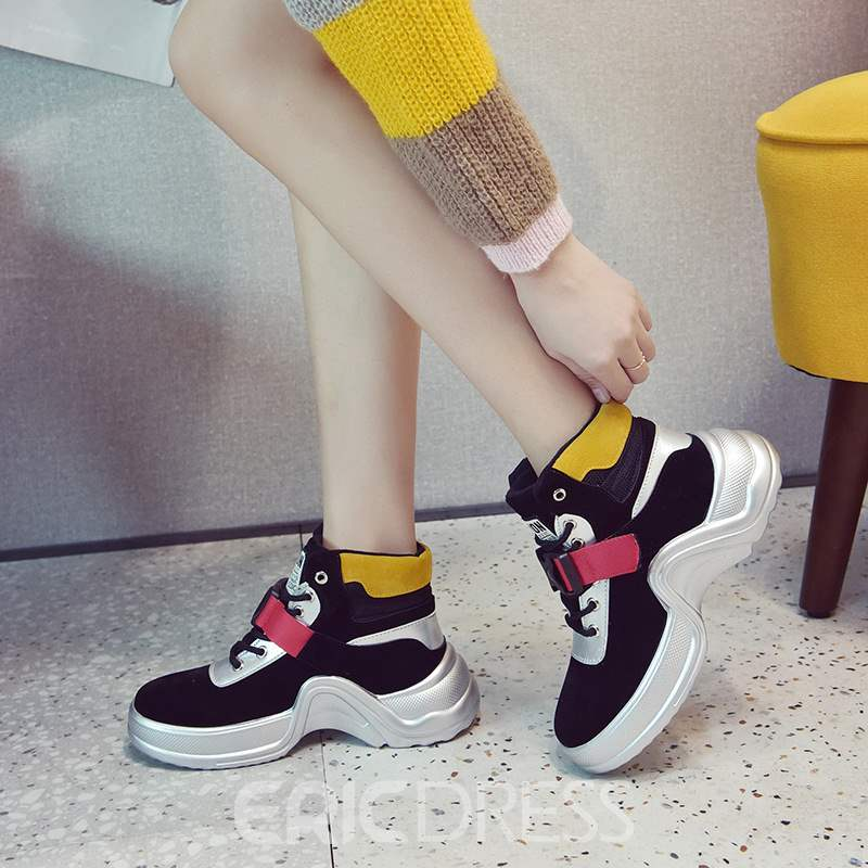 Ericdress Color Block Lace-Up Front Women's Sneakers
