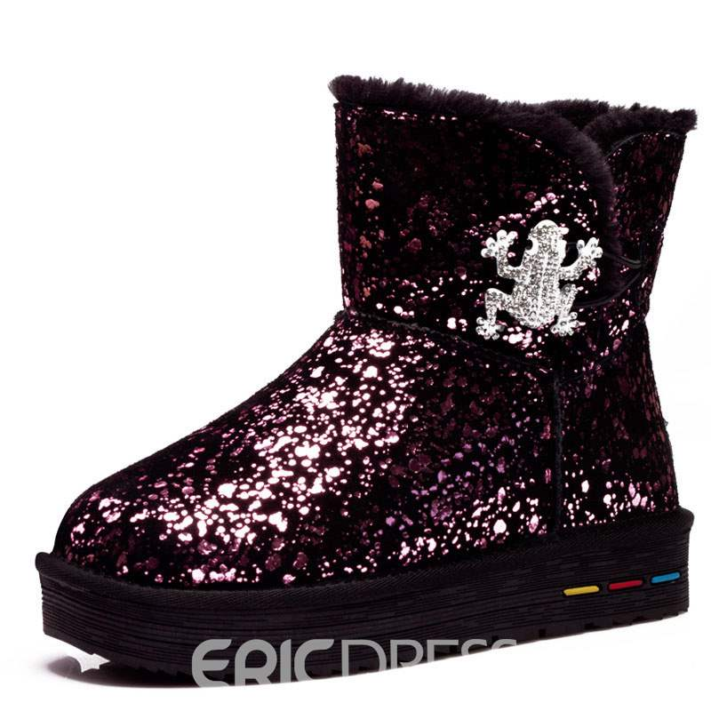 Ericdress Sequin Round Toe Platform Slip-On Women's Snow Boots