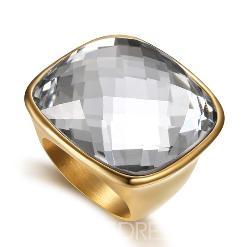 Ericdress Steel Men Gem Ring