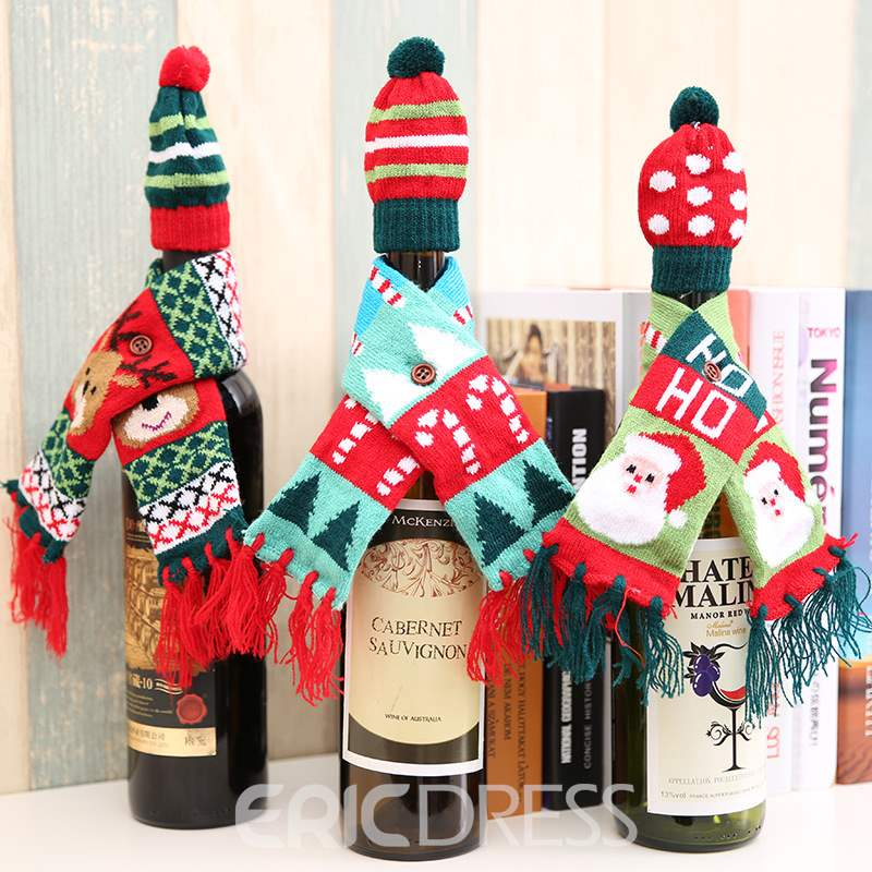 Ericdress Christmas Bottle Decoration Christmas Knitted Scarf Hat Set
