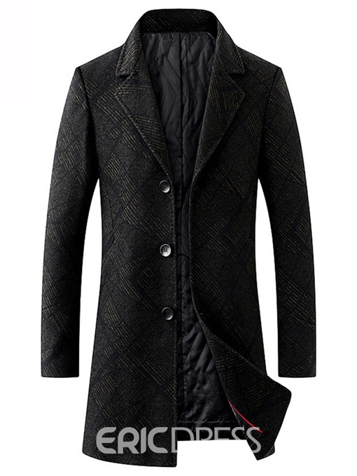 Ericdress Notched Lapel Mid-Length Slim Mens Thick Wool Coats