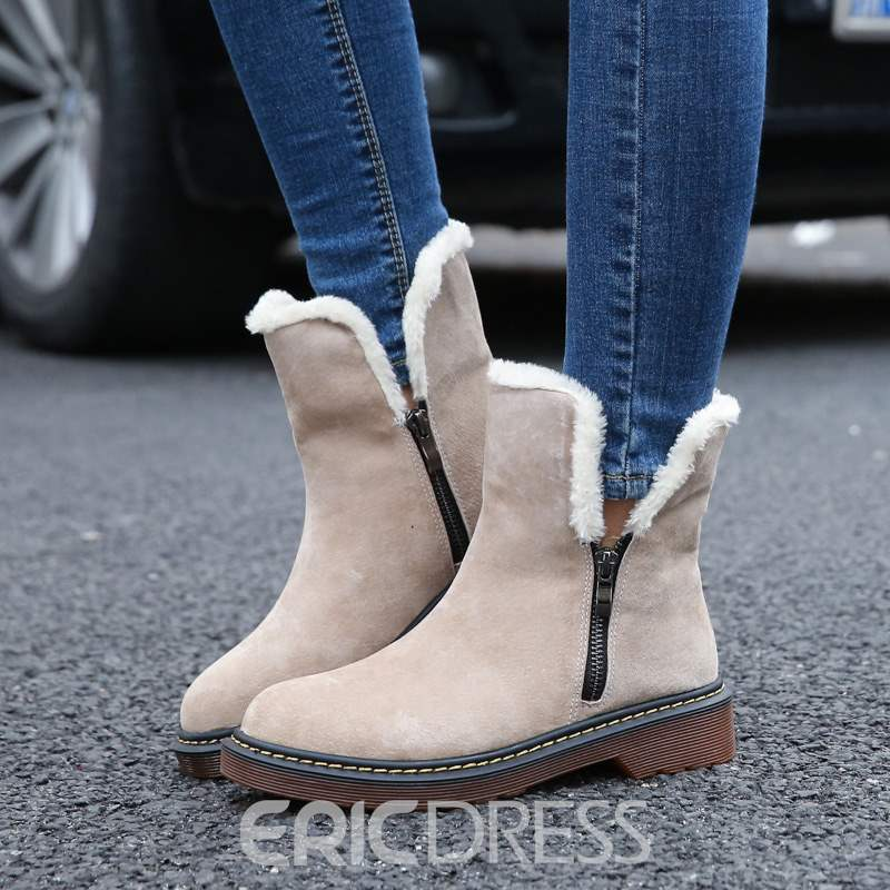 Ericdress Plain Block Heel Side ipper Short Floss Women's Snow Boots