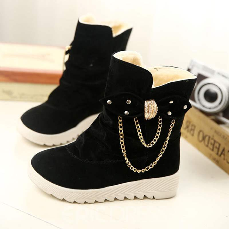 Ericdress Plain Bow Slip-On Round Toe Women's Snow Boots