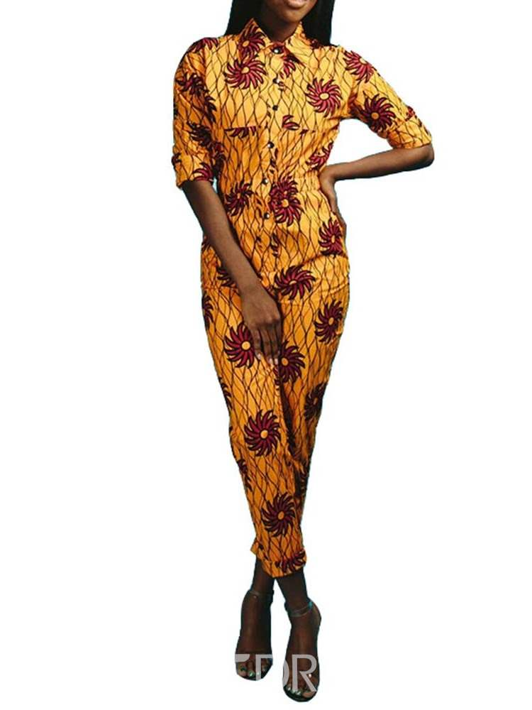 Ericdress Floral Print Slim Button Women's Jumpsuit