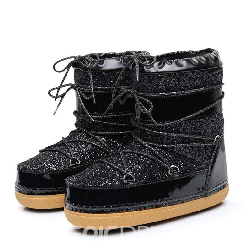 Ericdress Sequin Round Toe Lace-Up Front Women's Snow Boots