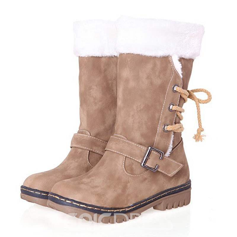Ericdress Lace-Up Back Block Heel Women's Snow Boots