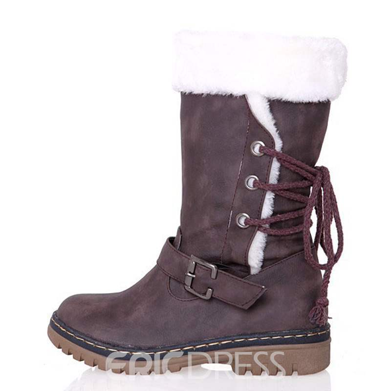 Ericdress Plain Lace-Up Back Block Heel Women's Snow Boots