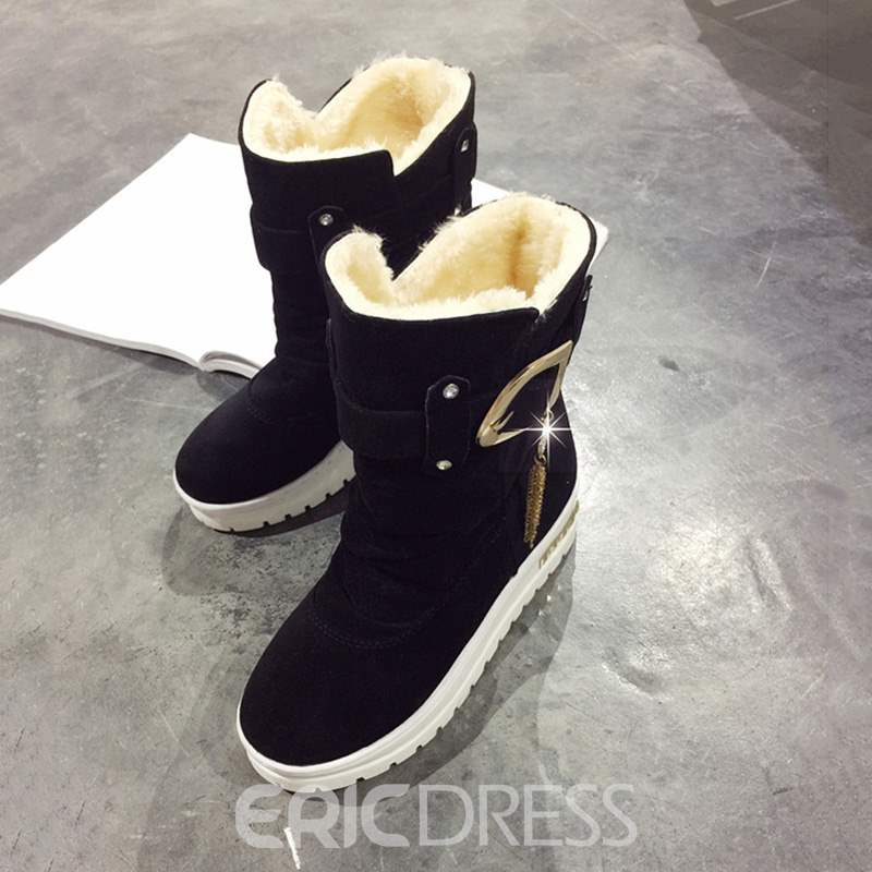 Ericdress Plain Slip-On Round Toe Women's Snow Boots