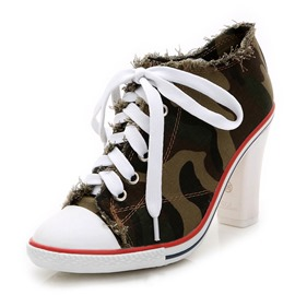 Ericdress Camouflage Round Toe Chunky Heel Women's Ankle Boots