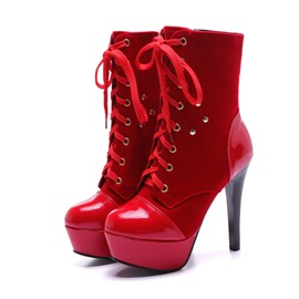 Ericdress Color Block Side Zipper Stiletto Heel Women's Ankle Boots