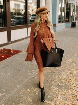 Ericdress Long Sleeve Knee-Length Round Neck Pullover Flare Sleeve Dress