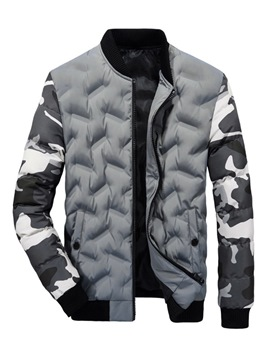 Ericdress Camouflage Stand Collar European Mens Zipper Down Jacket
