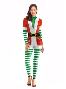 Ericdress Print Christmas Long Sleeve Color Block Sexy Costumes