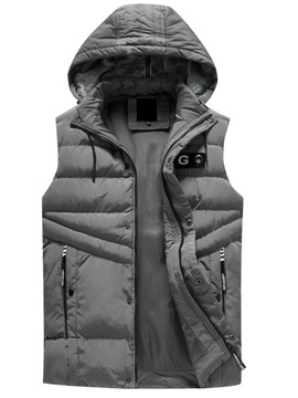 Ericdress Hooded Plain Zipper Mens Winter Vest