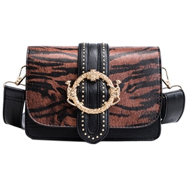 Ericdress Leopard Rivet PU Rectangle Crossbody Bags