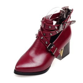 Ericdress Rivet Back Zip Pointed Toe Women's Ankle Boots