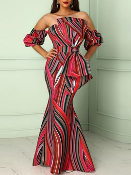 Ericdress Stripe Slash Neck Bowknot Mermaid Maxi Dress