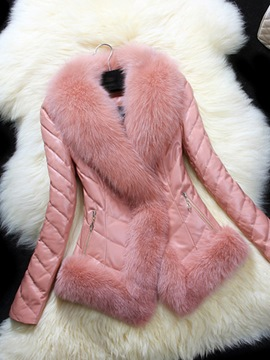 Ericdress Slim Plain Mid-Length Thick Winter Faux Fur Overcoat
