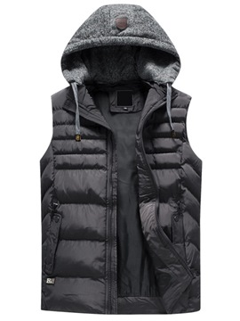 Ericdress Plain Patchwork Zipper Mens Casual Winter Vest