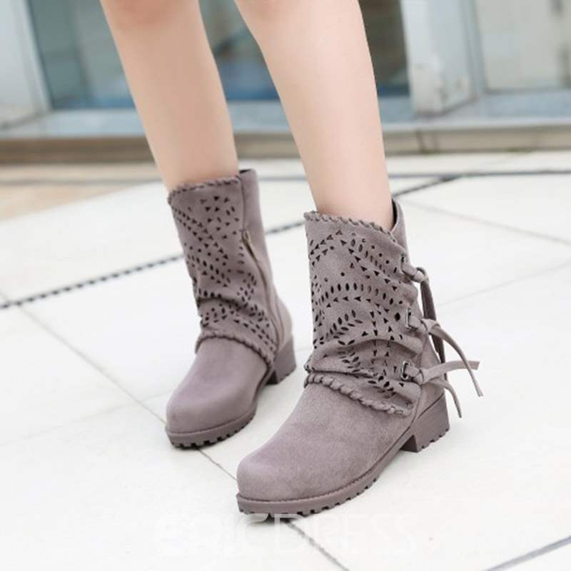 Ericdress Hollow Block Heel Side Zipper Women's Boots