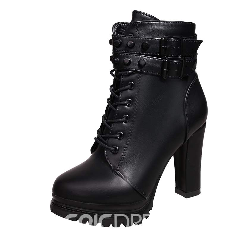 Ericdress Rivet Roune Toe Chunky Heel Women's Ankle Boots