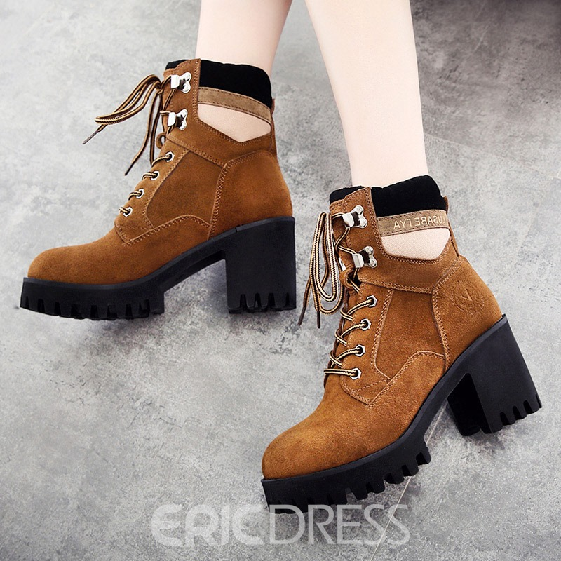 Ericdress Round Toe Chunky Heel Lace-Up Front Women's Boots