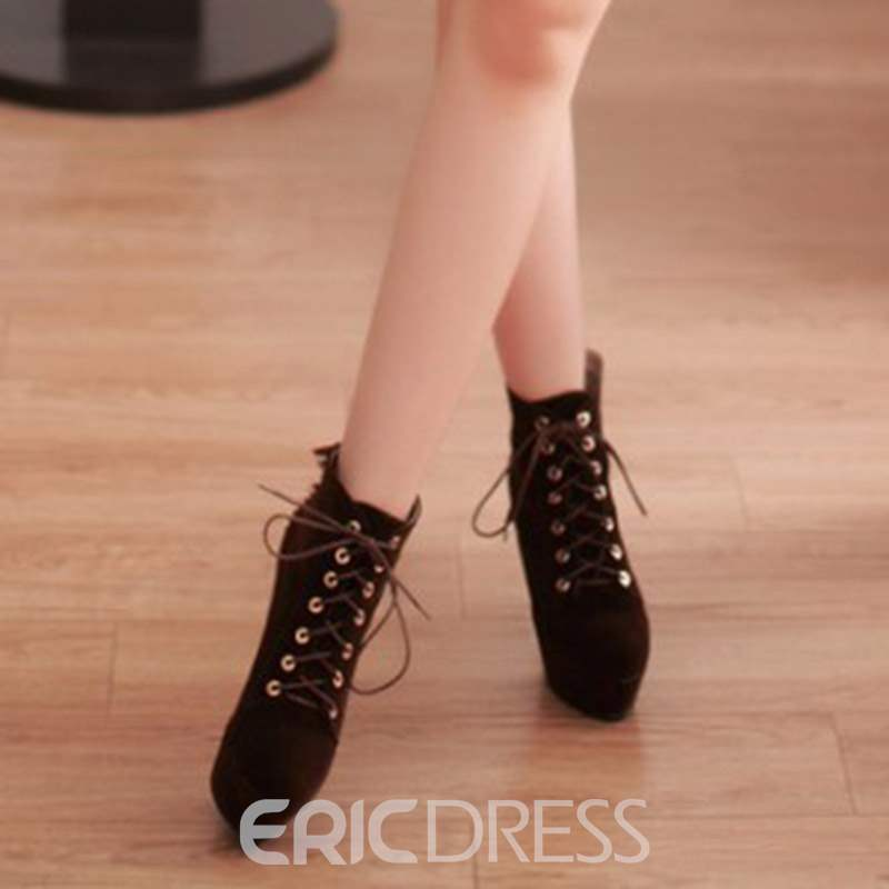 Ericdress Plain Lace-Up Front Stiletto Heel Women's Ankle Boots