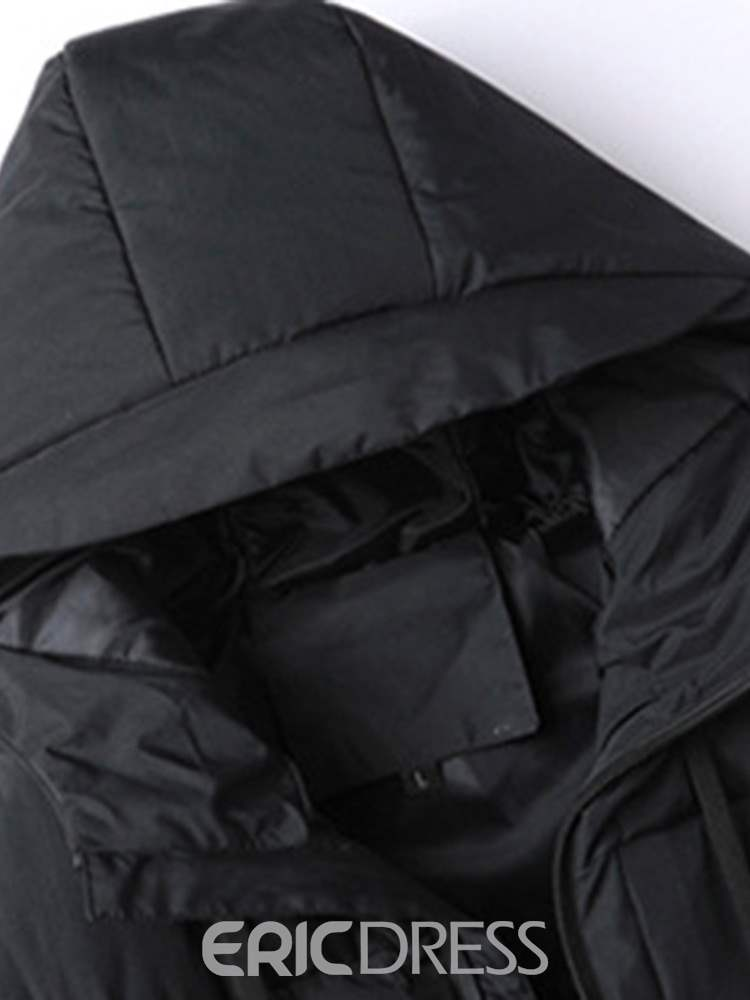 Ericdress Plain Hooded Casual European Zipper Mens Down Jacket