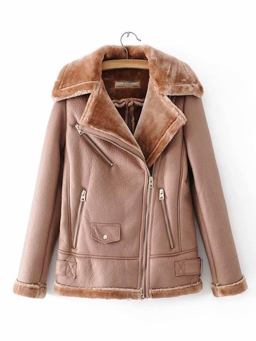 Ericdress Standard Straight Zipper Winter PU Jacket