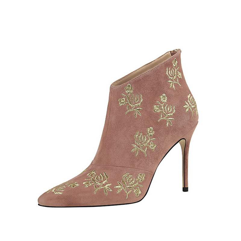 Ericdress Embroidery Floral Stiletto Heel Pointed Toe Women's Boots
