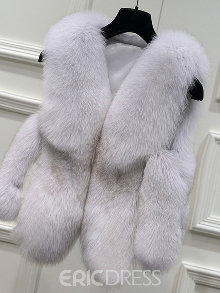 Ericdress Color Block Slim Standard Thick Winter Faux Fur Overcoat