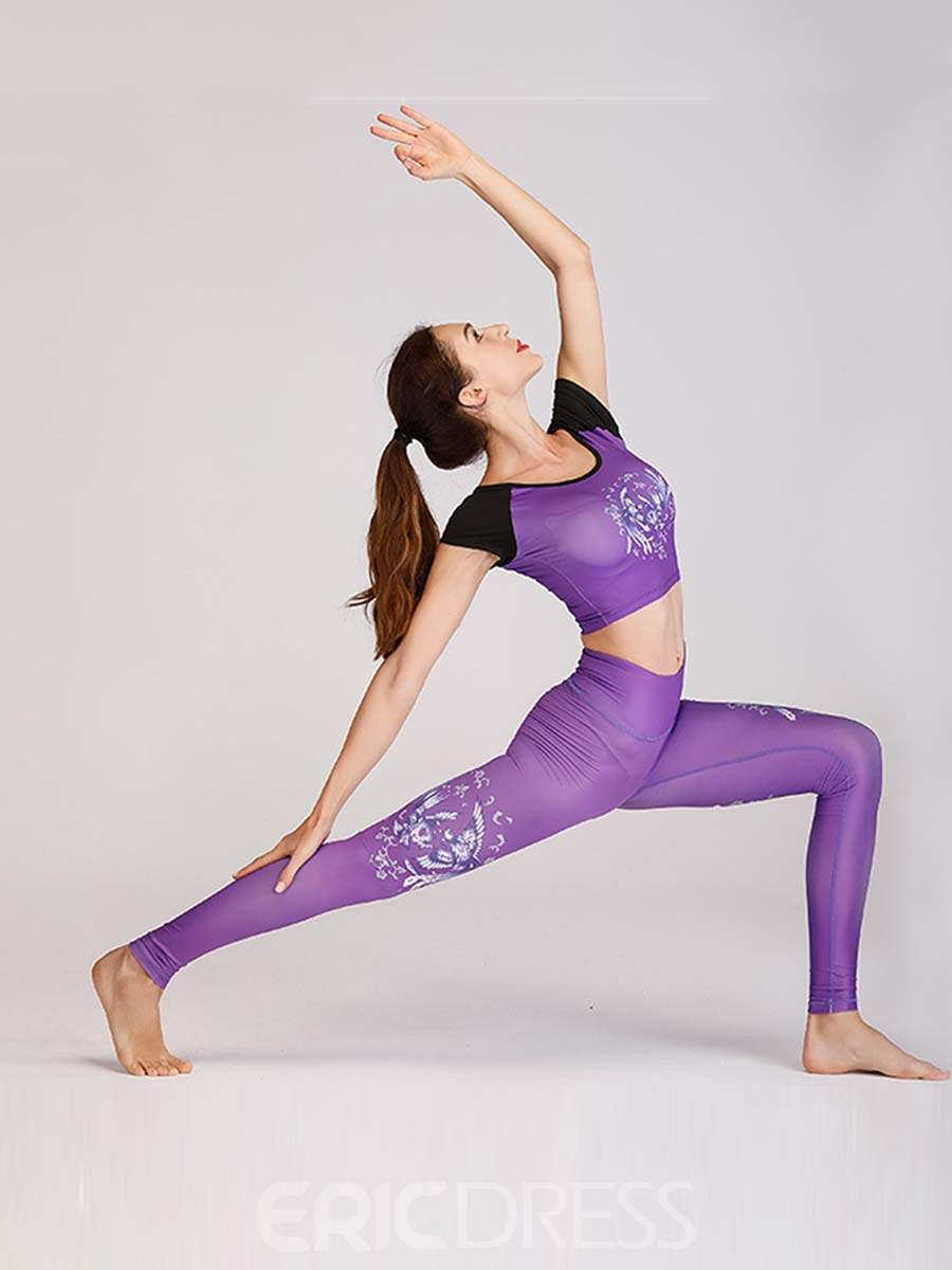 Ericdress Quick Dry Print Patchwork Yoga Sports Sets