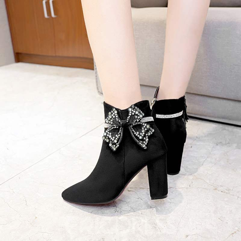 Ericdress Plain Bow Chunky Heel Pointed Toe Women's Ankle Boots