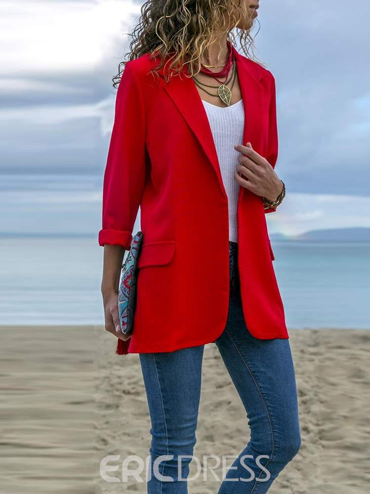Ericdress Wrapped Notched Lapel Plain Fall Casual Blazer
