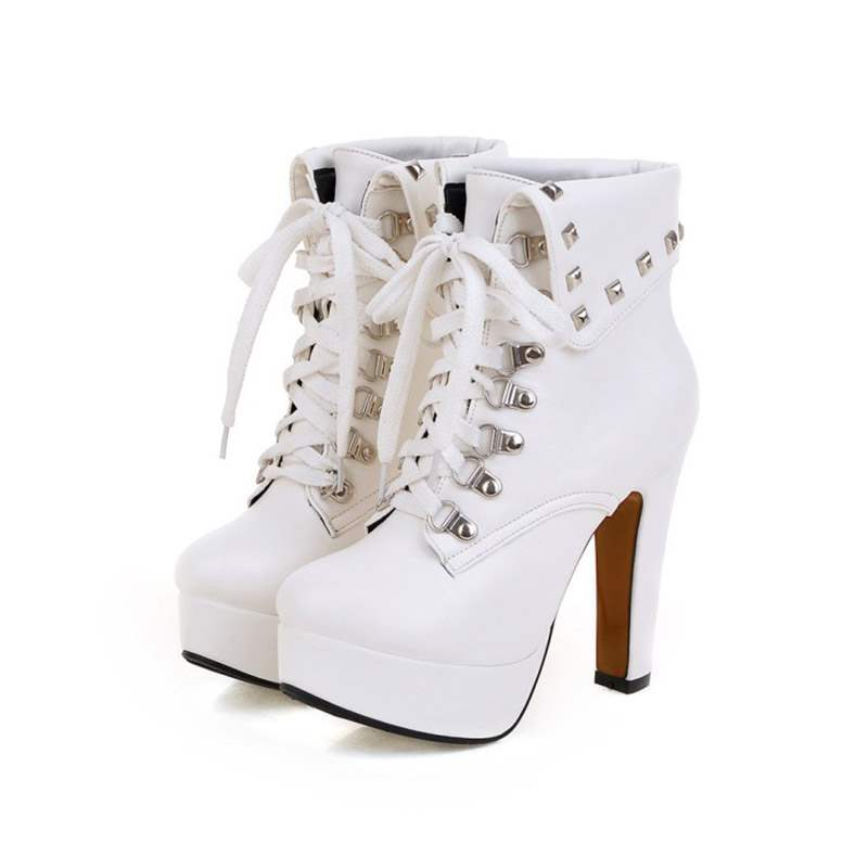 Ericdress Plain Round Toe Lace-Up Chunky Heel Women's Boots