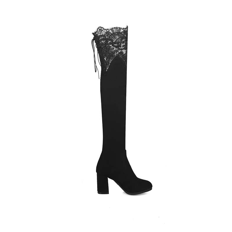 Ericdress Plain Lace-Up Back Women's Knee High Boots